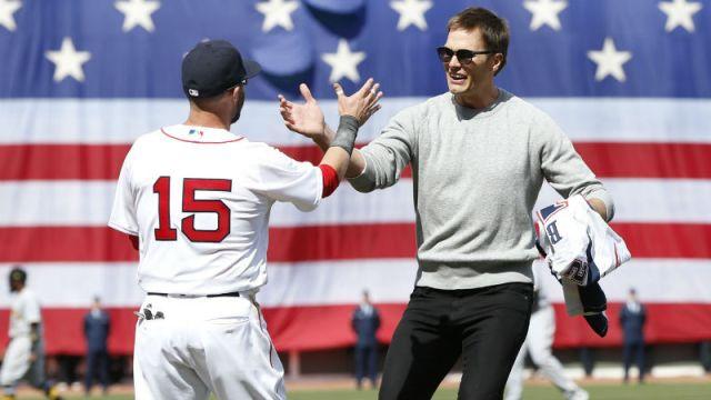 Boston Red Sox second baseman Dustin Pedroia and Tampa Bay Buccaneers quarterback Tom Brady