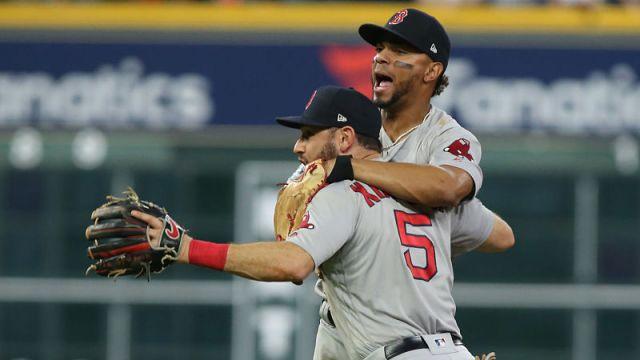 Boston Red Sox infielders Xander Bogaerts and Ian Kinsler