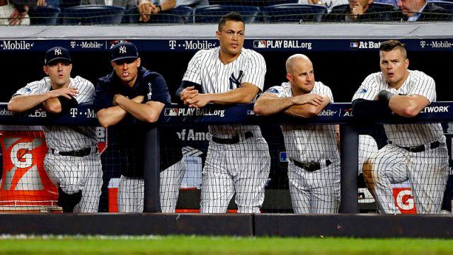 New York Yankees outfielders Giancarlo Stanton and Brett Gardner, first baseman Luke Voit and pitcher David Robertson