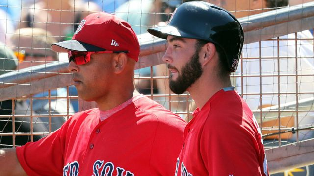 Boston Red Sox catcher Blake Swihart and manager Alex Cora