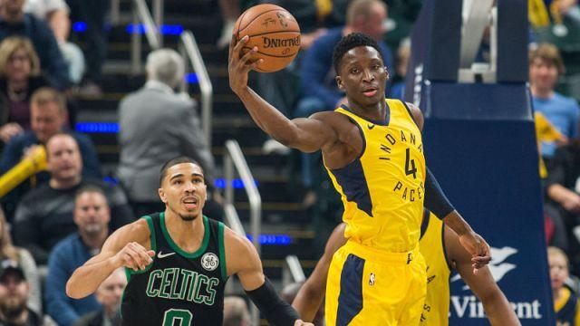 Boston Celtics forward Jayson Tatum and Indiana Pacers guard Victor Oladipo