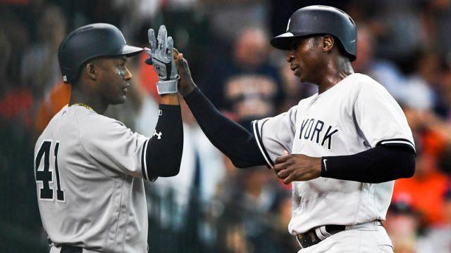 New York Yankees third baseman Miguel Andujar and shortstop Didi Gregorius