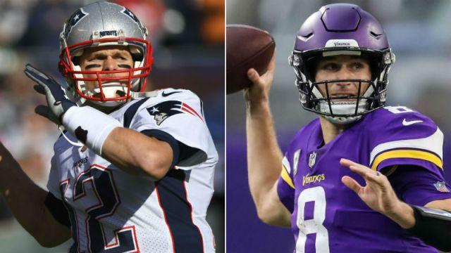 New England Patriots quarterback Tom Brady and Minnesota Vikings quarterback Kirk Cousins