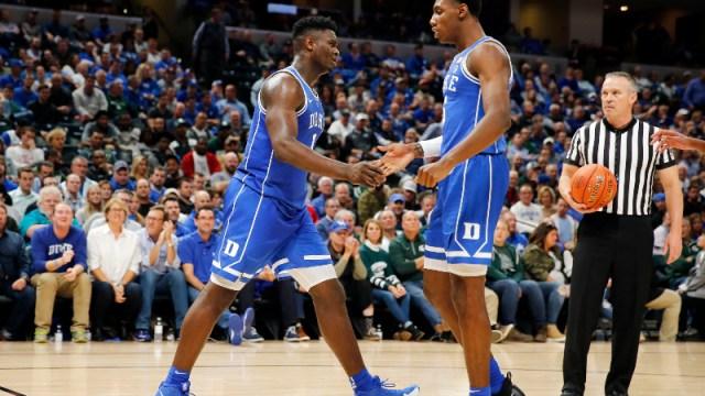 Duke Blue Devils forward Zion Williamson (left) and guard RJ Barrett