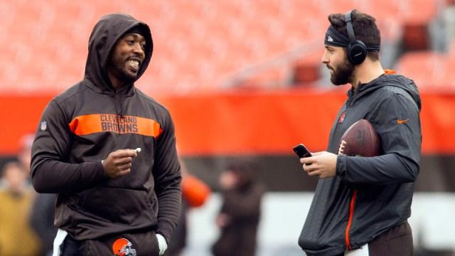 Cleveland Browns quarterbacks Tyrod Taylor (left) and Baker Mayfield