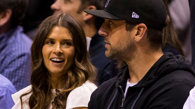 Former NASCAR driver Danica Patrick and Green Bay Packers quarterback Aaron Rodgers