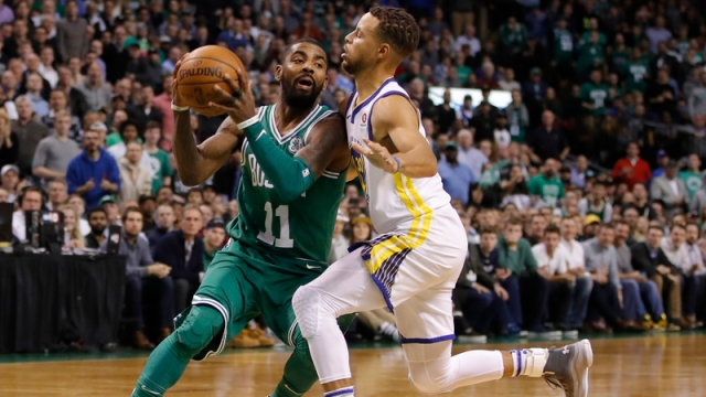 Boston Celtics Guard Kyrie Irving And Golden State Warriors Guard Steph Curry
