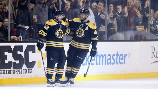 Boston Bruins forwards Brad Marchand and David Krejci