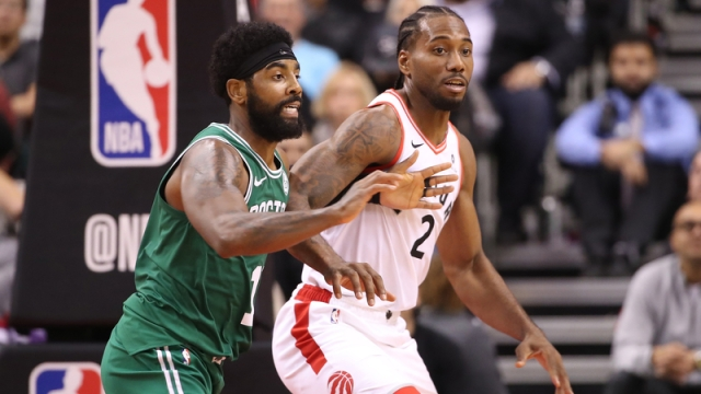 Boston Celtics Guard Kyrie Irving And Toronto Raptors Forward Kawhi Leonard