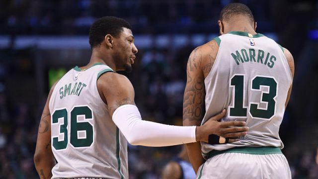 Boston Celtics guard Marcus Smart and forward Marcus Morris