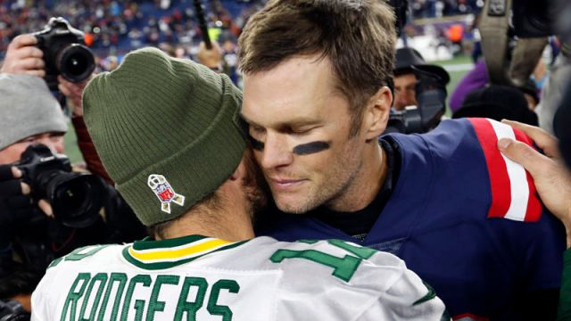 New England Patriots quarterback Tom Brady and Green Bay Packers quarterback Aaron Rodgers