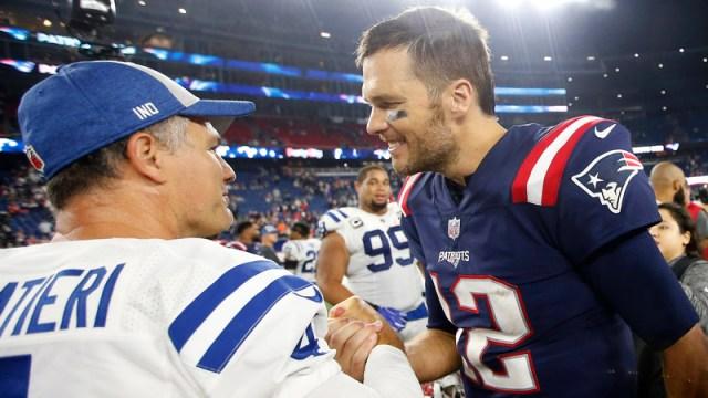 Indianapolis Colts Kicker Adam Vinatieri And New England Patriots Quarterback Tom Brady