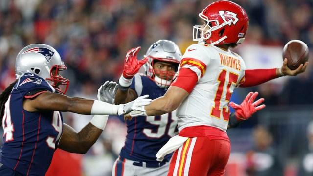 Patriots defensive ends Adrian Clayborn, Trey Flowers, Chiefs quarterback Patrick Mahomes