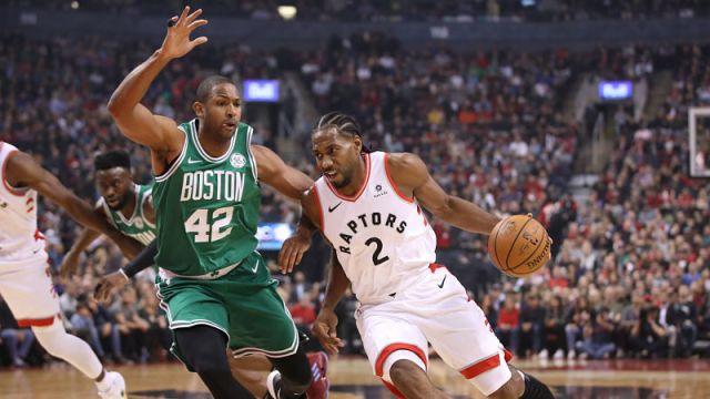 Boston Celtics forward Al Horford and Toronto Raptors forward Kawhi Leonard