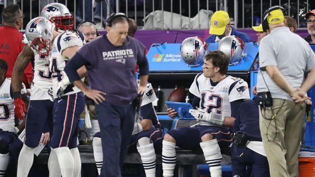 New England Patriots head coach Bill Belichick and quarterback Tom Brady