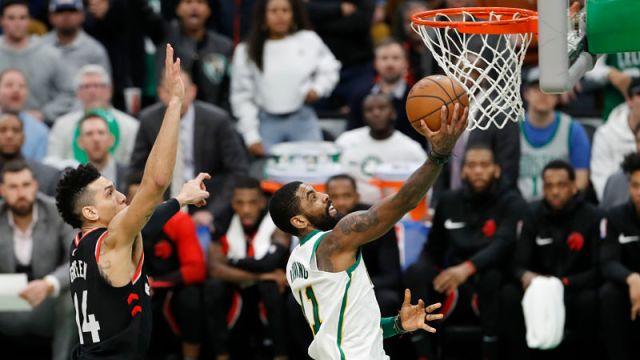 Toronto Raptors guard Danny Green and Boston Celtics guard Kyrie Irving