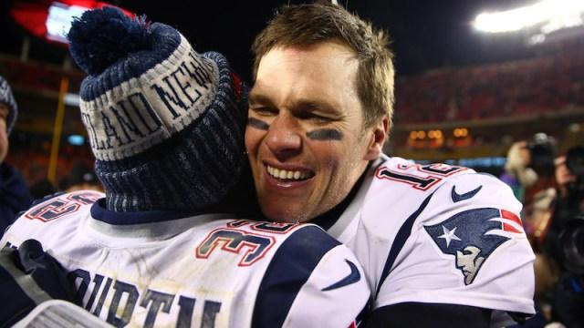 New England Patriots safety Devin McCourty, quarterback Tom Brady