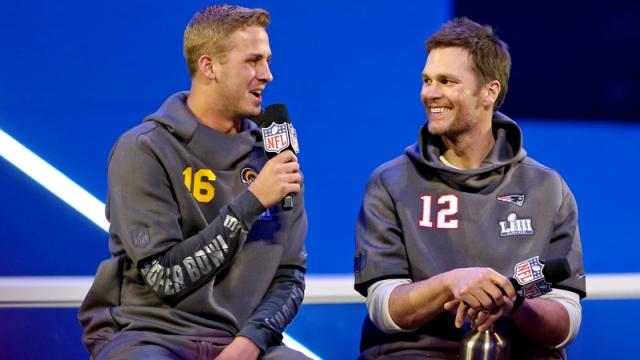 Los Angeles Rams Quarterback Jared Goff And New England Patriots Quarterback Tom Brady