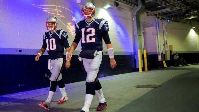 San Francisco 49ers quarterback Jimmy Garoppolo and New England Patriots quarterback Tom Brady