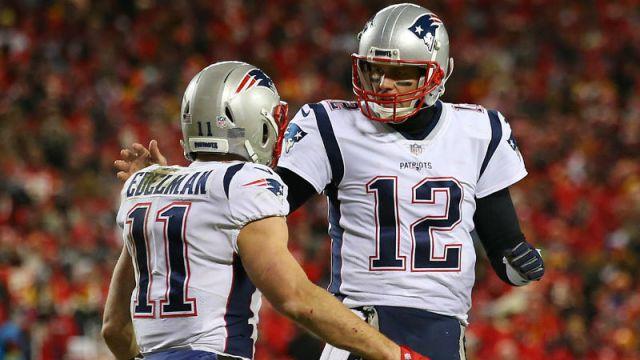 Tampa Bay Buccaneers quarterback Tom Brady and NE Patriots Wide Receiver Julian Edelman