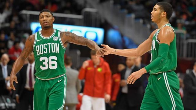 Boston Celtics guard Marcus Smart and forward Jayson Tatum