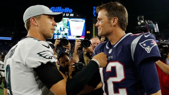 Philadelphia Eagles Quarterback Nick Foles And New England Patriots Quarterback Tom Brady
