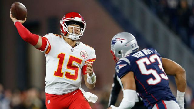 Kansas City Chiefs quarterback Patrick Mahomes and New England Patriots linebacker Kyle Van Noy