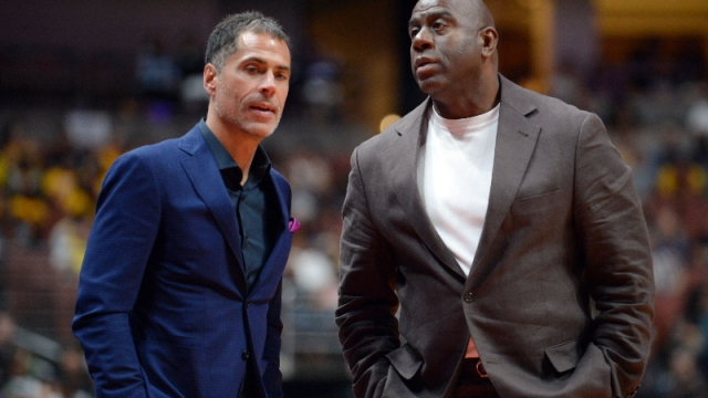 Los Angeles Lakers general manager Rob Pelinka (left) and president of basketball operations Magic Johnson