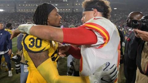 Los Angeles Rams running back Todd Gurley (30) and Kansas City Chiefs quarterback Patrick Mahomes (15)