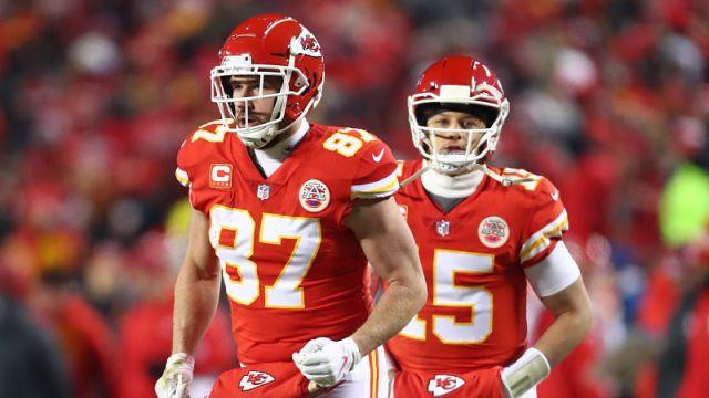 Kansas City Chiefs tight end Travis Kelce and quarterback Patrick Mahomes