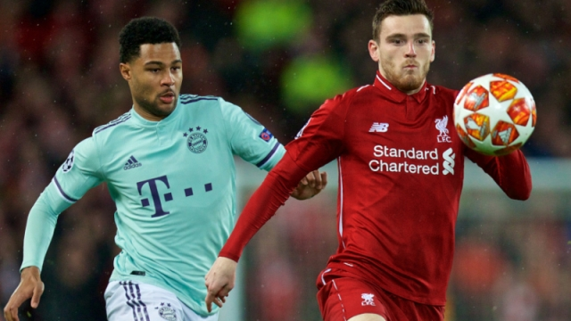 Bayern Munich winger Serge Gnabry (left) and Liverpool defender Andy Robertson