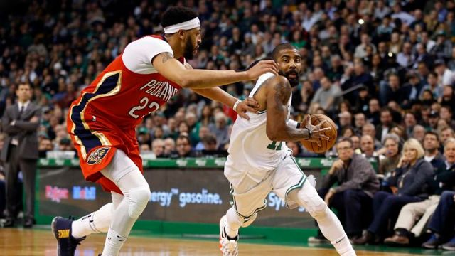 New Orleans Pelicans forward Anthony Davis and Boston Celtics guard Kyrie Irving