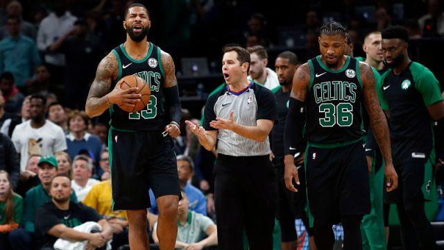 Boston Celtics forward Marcus Morris and guard Marcus Smart