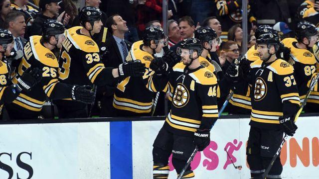 Boston Bruins forwards David Krejci and Patrice Bergeron