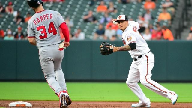 MLB players Bryce Harper (left) and Manny Machado