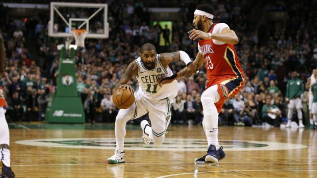 Boston Celtics guard Kyrie Irving and New Orleans Pelicans forward Anthony Davis