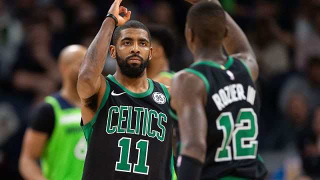 Boston Celtics guards Terry Rozier and Kyrie Irving