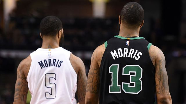 Oklahoma City Thunder forward Markieff Morris and Boston Celtics forward Marcus Morris