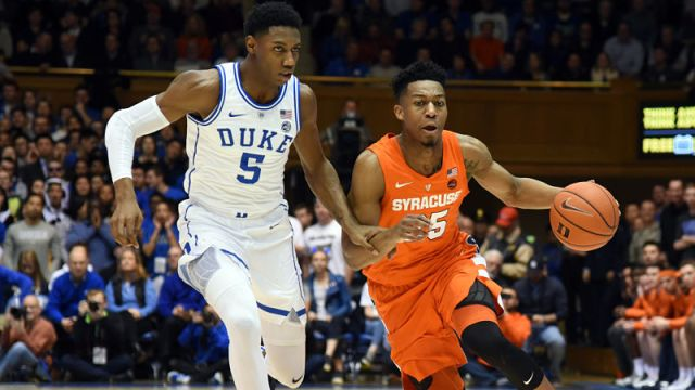 Duke forward R.J. Barrett and Syracuse guard Tyus Battle
