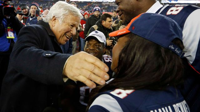 New England Patriots owner Robert Kraft and retired NFL tight end Martellus Bennett