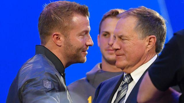 Los Angeles Rams coach Sean McVay and New England Patriots coach Bill Belichick