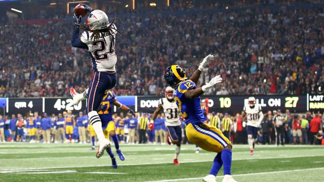 New England Patriots cornerback Stephon Gilmore and Los Angeles Rams wide receiver Brandin Cooks