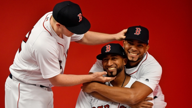 Boston Red Sox's Brock Holt, Eduardo Nunez and Xander Bogaerts