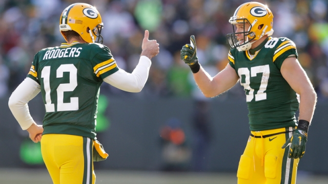 Green Bay Packers Quarterback Aaron Rodgers And Oakland Raiders Wide Receiver Jordy Nelson