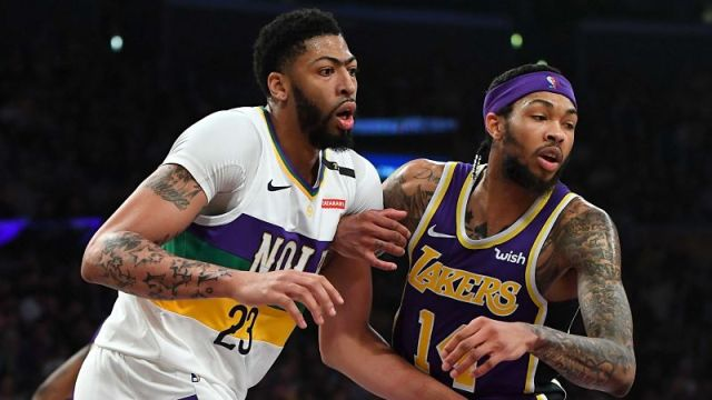New Orleans Pelicans forward Anthony Davis and Los Angeles Lakers guard Brandon Ingram
