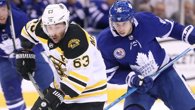 Boston Bruins winger Brad Marchand and Toronto Maple Leafs winger Mitch Marner