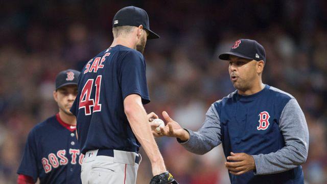 Boston Red Sox pitcher Chris Sale, manager Alex Cora