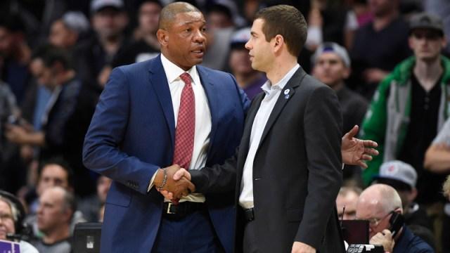 Los Angeles Clippers Head Coach Doc Rivers And Boston Celtics Head Coach Brad Stevens