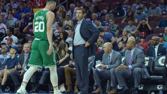 Boston Celtics head coach Brad Stevens and forward Gordon Hayward (20)