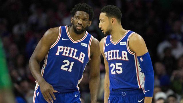 Philadelphia 76ers forward Joel Embiid and forward Ben Simmons